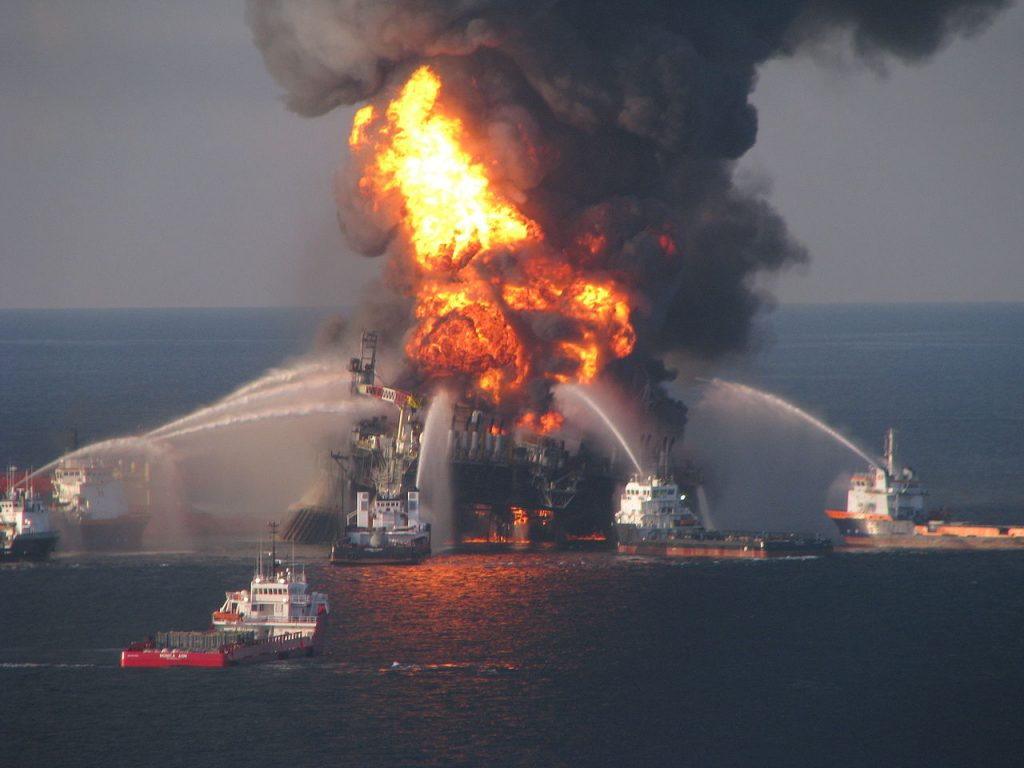 Fire boat response crews battle the blaze on the Deepwater Horizon ocean drilling rig. Credit: US Coast Guard