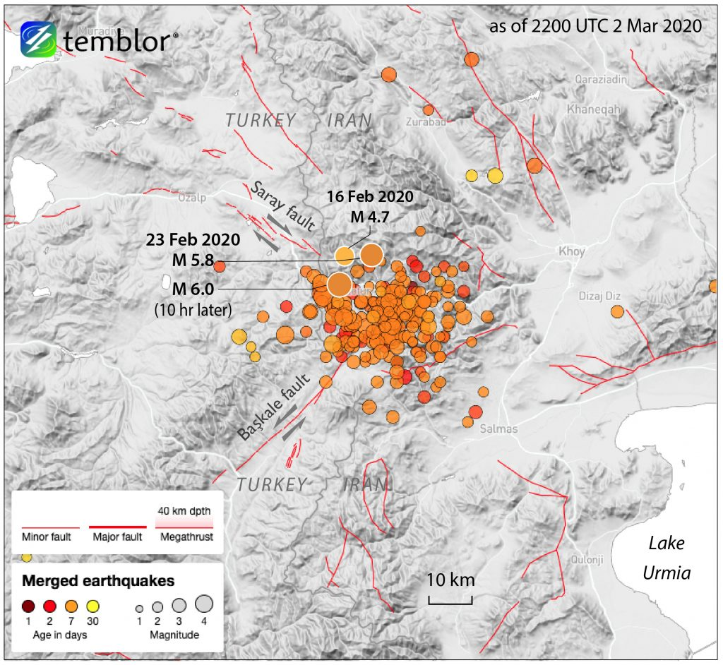A cluster of earthquakes recently struck the Turkey-Iran border, destroying or damaging thousands of buildings. Credit: Temblor