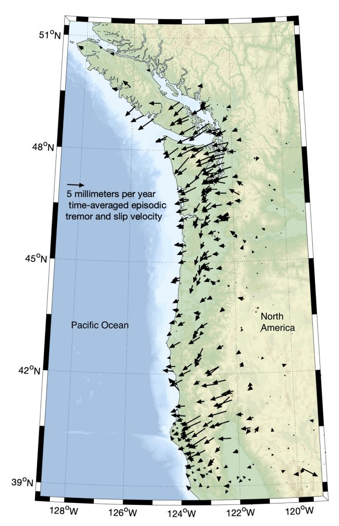 Motions of GPS sites in the Cascadia region during episodic tremor and slip events, modified from Bartlow (2020). Each arrow represents one GPS station and its motion relative to the subducting plate. Motions are greatly exaggerated.