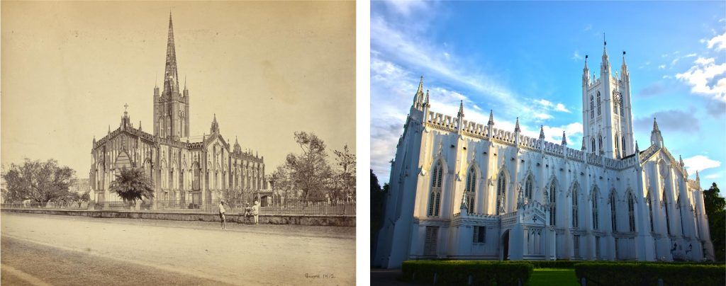 On the left is a photograph of St. Paul's Cathedral, in Kolkata, taken in the 1860s. On the right is a photograph of St. Pauls' Cathedral taken in the 2010s. Note how the tower is less pointed now than in the original design. Left photo credit: Samuel Borne, public domain. Right photo credit: Ankitesh Jha