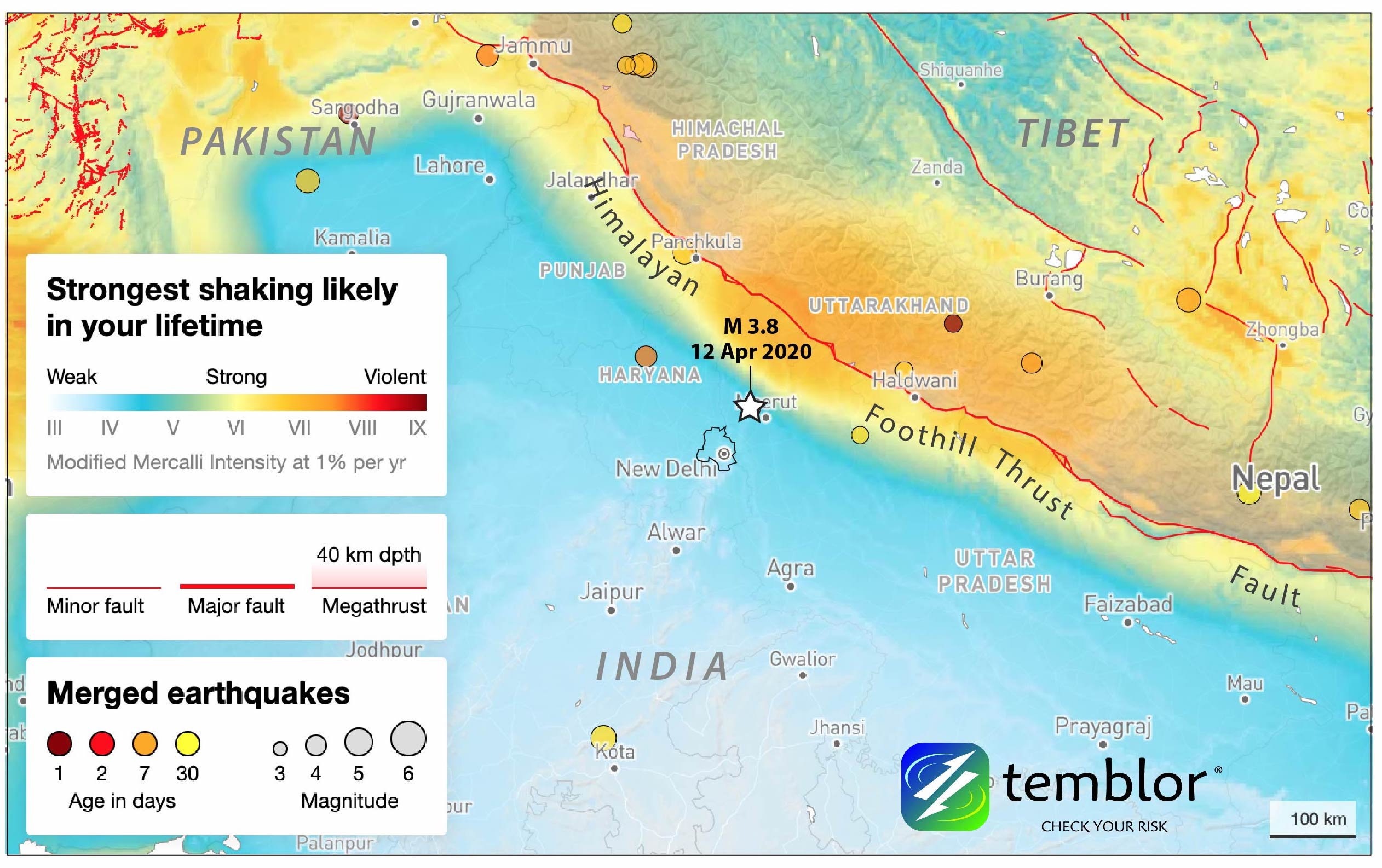 Temblor hazard models suggest a strong Himalayan quake is possible. Credit: Temblor