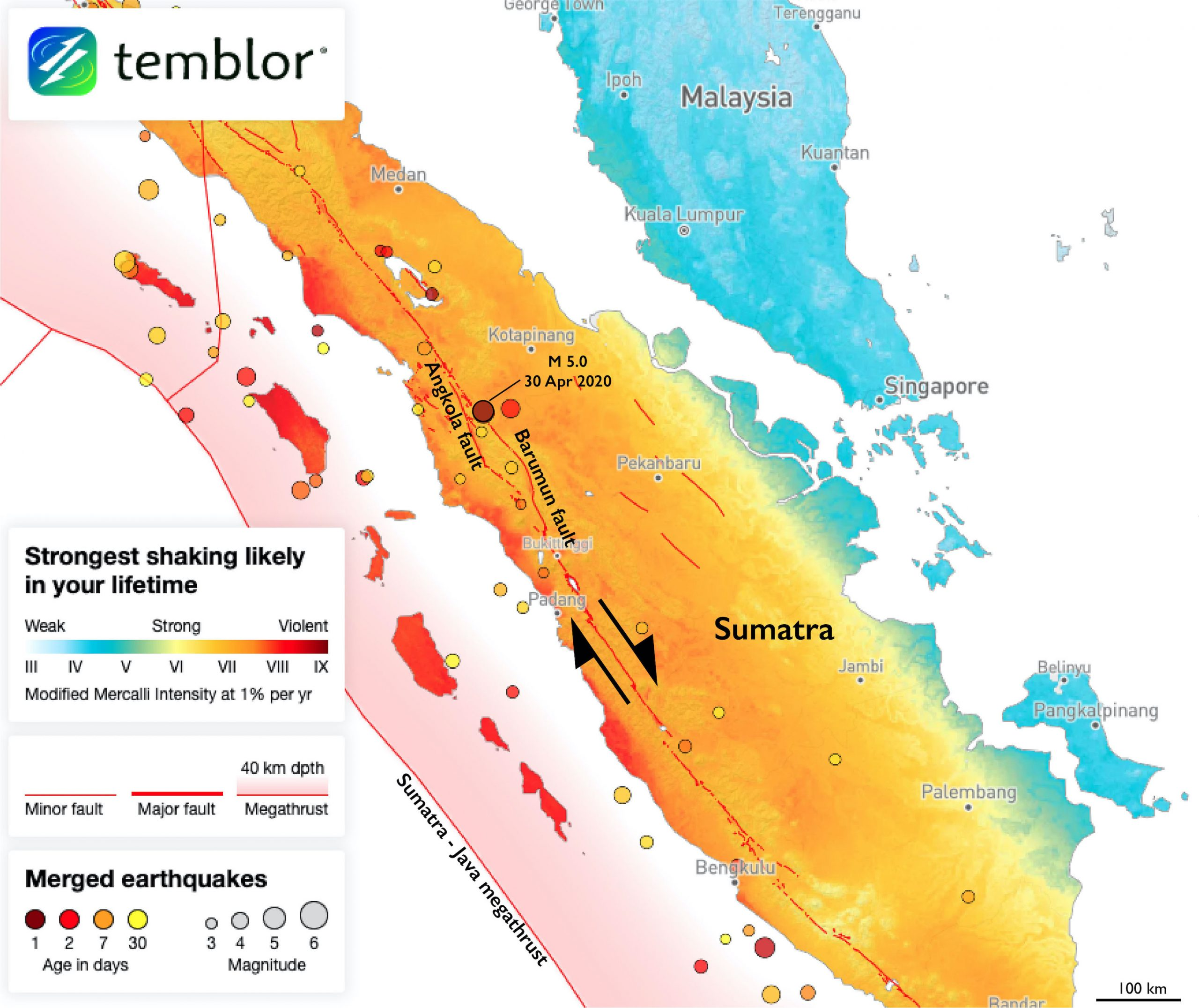 A M 5.0 earthquake occurred today near the town of Padangsidempuan, Indonesia. Sumatra is transected by the right-lateral Sumatran fault system. Today's quake occurred within a tectonically complex region between the Barumun and Angkola segments.