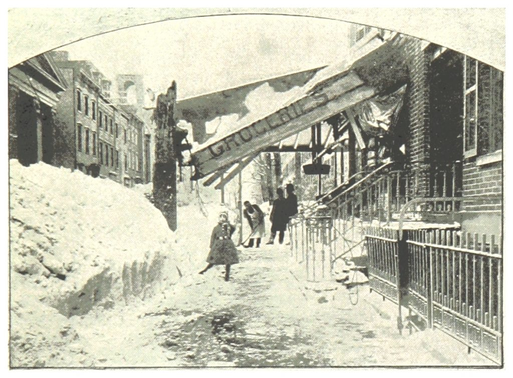 The great blizzard of March 1888 that buried New York City and much of New England in more than a meter of snow and killed more than 400 people was a nor'easter. Such storms are relatively common in springtime. What would happen if such a storm struck New York before the COVID-19 pandemic was over? Credit: public domain