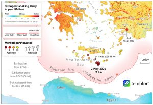 Today's magnitude-6.6 was far enough offshore to cause no damage. But this thrust event likely struck on or just above the Hellenic Arc megathrust zone, which ruptured in AD 365 in a magnitude-8 event that caused widespread destruction and a tsunami, hurling ships 3 km inland.