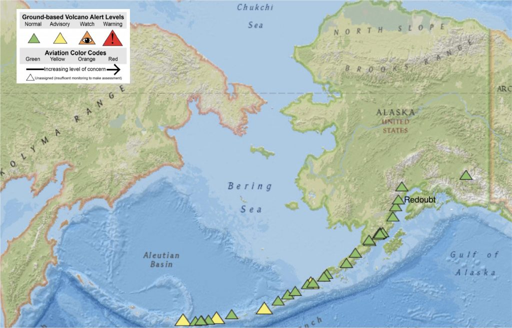 The Alaska Volcano Observatory issues volcano alerts via a color-coded system. Green indicates normal activity, with color changes indicating level of concern to aviators. In this image, taken April 30, 2020, all monitored volcanoes are are either green or yellow. Credit: Alaska Volcano Observatory