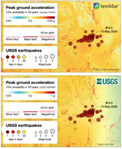 Maps of seismic hazard prior to the Tonopah earthquake generated from Temblor's PUSH (Probabilistic Uniform Seismic Hazard) at top and the USGS 2014 NSHMP (National Seismic Hazard Mapping Project) at bottom for comparison. PUSH does not use faults as input whereas the USGS does. Despite this, the hazard is very comparable, if not slightly higher for PUSH than NSHMP.