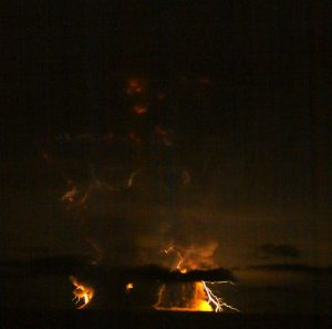 Photograph of volcanic lightning at Redoubt during its March 2009 eruption. Credit: Bretwood Higman