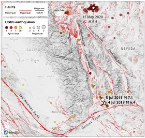Map of the southern section of the Walker Lane Belt around surrounding regions showing the the past 30 days of earthquake activity. The three stars indicate important quakes—the July 2019 Ridgecrest magnitude-6.4 foreshock, the July 2019 Ridgecrest magnitude-7.1 mainshock, and the Tonopah magnitude-6.5 event of May 15, 2020. Stars are scaled to correspond with magnitude. Credit: Temblor