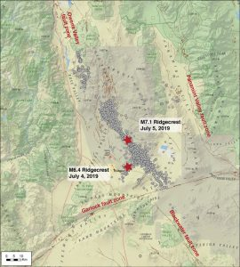 Map of Southern California focused on the Ridgecrest area and its surrounding faults in the Mojave Desert. Credit: USGS