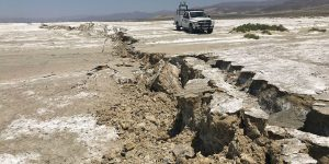 Photo of surface deformation caused by the Ridgecrest earthquake sequence in July 2019. Credit: USGS