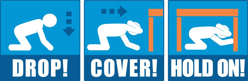 In an earthquake, drop to the ground, cover your head and body, and hold on. Credit: Earthquake Country Alliance.