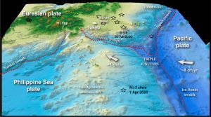 The recent swarm shocks are shown as stars. Tokyo sits near the junction where three great tectonic plates, the Pacific, Philippine Sea, and Eurasia, meet.