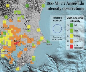 The 1855 Ansei-Edo shock destroyed former Tokyo. Its inferred location and depth coincides with one of the recent magnitude-5.0+ swarm earthquakes. (From Grunewald and Stein, 2006).