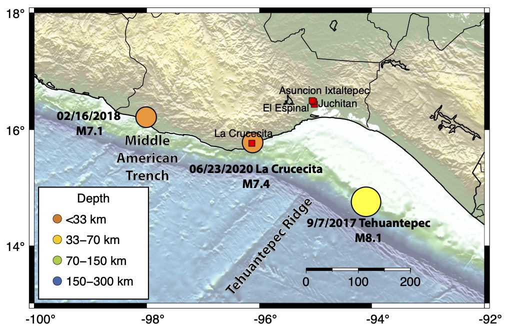 Map showing the epicenter of Tuesday's La Crucecita earthquake from the Servicio Sismológico Nacional (SSN), and two other major earthquakes in the region. The Middle American Trench and the Tehuantepec Ridge are significant ocean floor features.