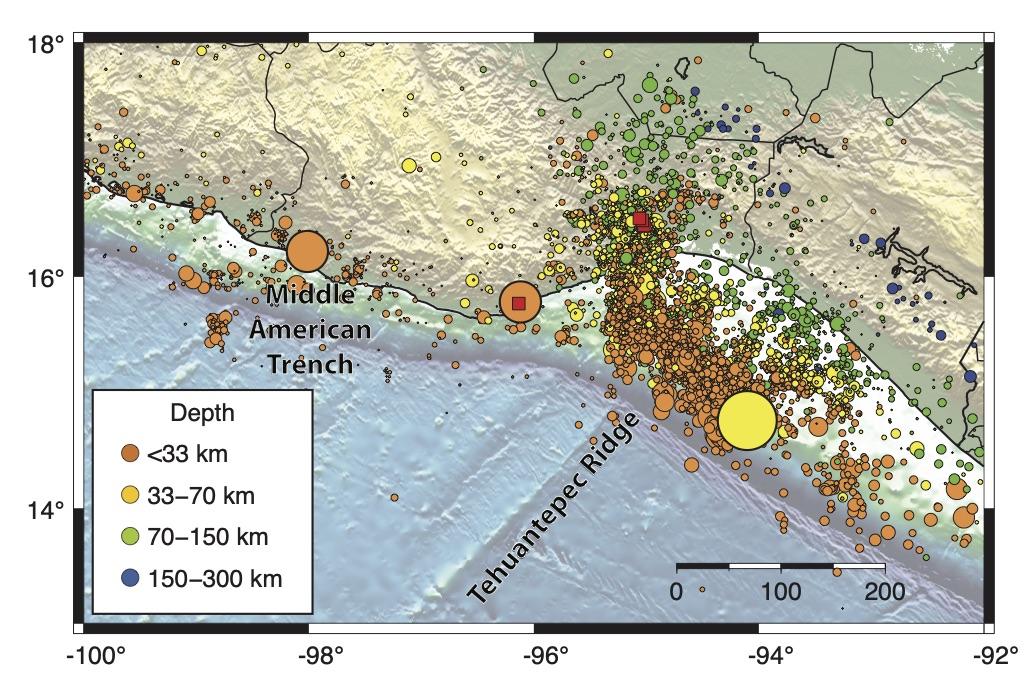 Catálogo sísmico del SSN donde se observa la sismicidad (círculos) generada en la zona durante los meses de setiembre y octubre de 2017, inmediatamente después del terremoto de Tehuantepec. El color de los círculos corresponde con la profundidad de los temblores. La profundidad de las réplicas es generalmente somera cerca del epicentro del evento principal y cada vez más profunda tierra adentro, siguiendo la interfaz de la zona de subducción. Sin embargo, hacia el Norte de la cresta de Tehuantepec, tierra adentro, una región con sismicidad somera muestra que existe complejidad sismotectónica adicional en las fallas por debajo de la superficie.