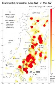 Here is the earthquake forecast issued by Temblor to its commercial clients on 1 June 2020. The impact of the 2011 magnitude-9.0 Tohoku shock, as well as all other magnitude-6.5+ shocks are incorporated into the forecast. Red-yellow sites are expected to have the highest rate of magnitude-5.0 shocks. The 25 Jun 2020 event is consistent with this forecast.