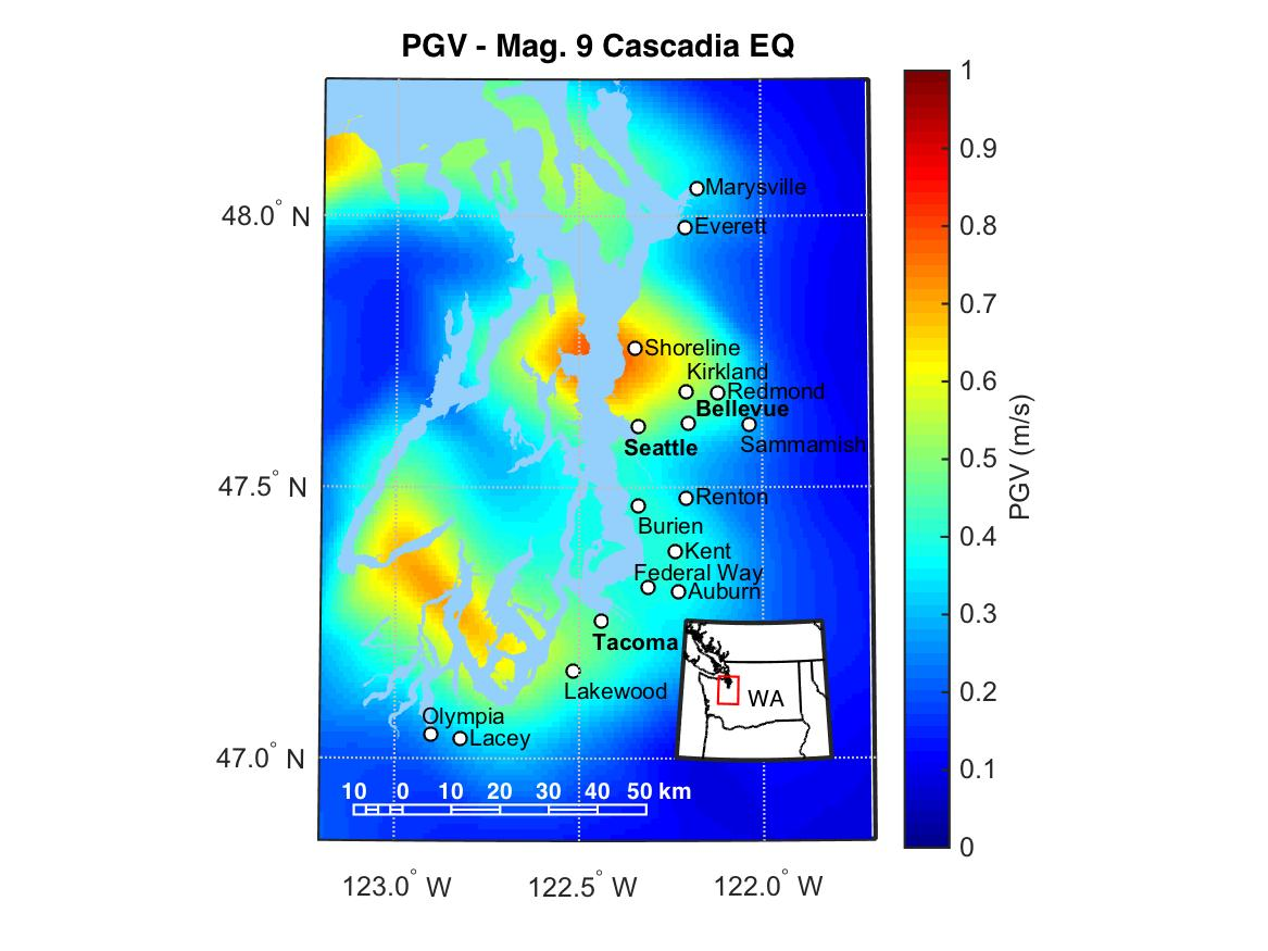 Estimated peak ground velocities (PGV) in the Puget Sound region from a magnitude-9.0 earthquake on the Cascadia subduction zone. Results represent the average peak ground velocity from thirty possible rupture scenarios. Data from Frankel et al., 2018, and Wirth et al., 2018.