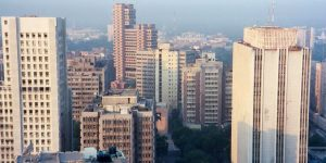 Skyscrapers in Connaught Place, one of the major financial centers in New Delhi. Credit: Wikimedia commons