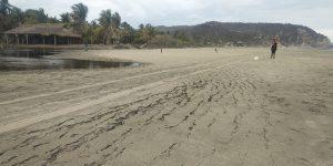 Foto tomada dos horas después del sismo del 23 de junio de 2020. Se muestra las grietas formadas en la arena de una playa cercana a La Crucecita. A la izquierda se observa la presencia de una laguna, mientras que el mar está a la derecha. Las grietas delimitan el área de la laguna y son el resultado de la filtración del agua en la arena producto del terremoto. Fotografía por: Ericka Alinne Solano.