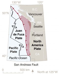 The Cascadia subduction zone sits just offshore of the Pacific Northwest. Red shading indicates areas of possible slip on the fault during a magnitude-9.0 earthquake. Credit: USGS