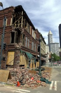 Damage in downtown Seattle from the 2001 magnitude-6.9 Nisqually earthquake. Credit: Seattle Municipal Archives