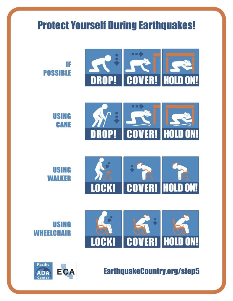 During an earthquake drop to the ground (or lock wheels if using a wheelchair or walker), cover your head and neck, and hold on to a sturdy object if possible. Credit: Earthquake Country Alliance.
