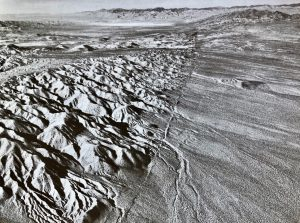 The 'left-lateral' Garlock Fault (whichever side you are on, the other side moves to the left), photographed by the geologist John Shelton. Trench excavations across the fault have revealed evidence for large prehistoric earthquakes roughly every millennium.