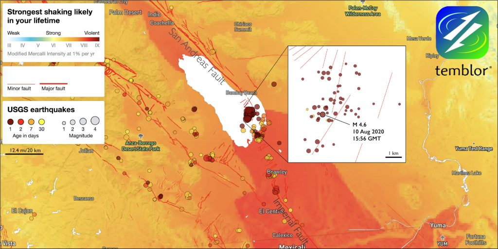 Tensional faults, on which the magnitude-4.6 occurred, run approximately NNE-SSW and transfer plate motion from the Imperial Fault to the San Andreas. So far, the earthquakes in the Salton Sea Swarm have not migrated onto the San Andreas, but they are close to a southern extension of San Andreas into the Salton Sea. Credit: Temblor.