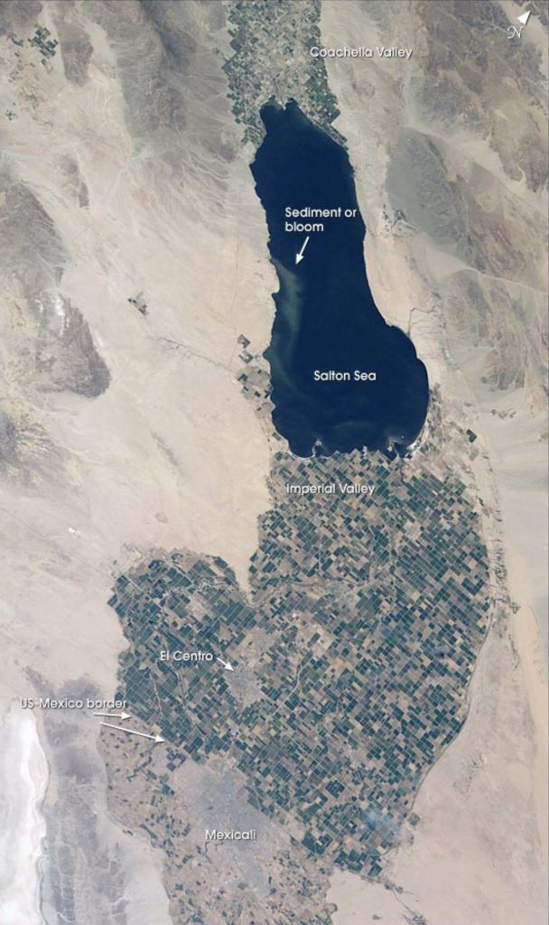 Astronaut photograph taken by the STS-111 Space Shuttle crew of the Salton Sea, with the desert valleys—Imperial, Coachella and Mexicali—labeled. Credit: NASA Earth Observatory.