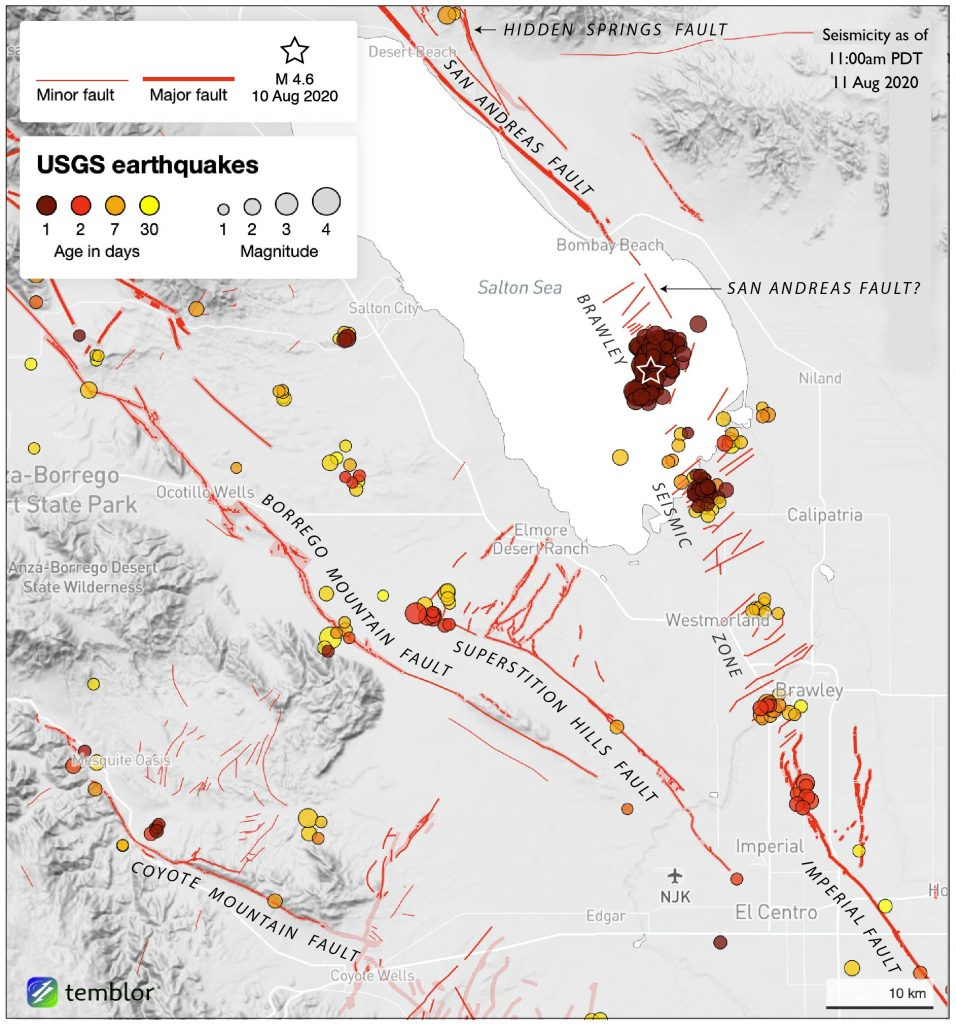Some 26 hours after the magnitude-4.6, the Salton Sea Swarm continues. Much of the Brawley Seismic Zone, and parts of all the major surrounding faults have also been active during the past week—except for the San Andreas. Credit: Temblor.