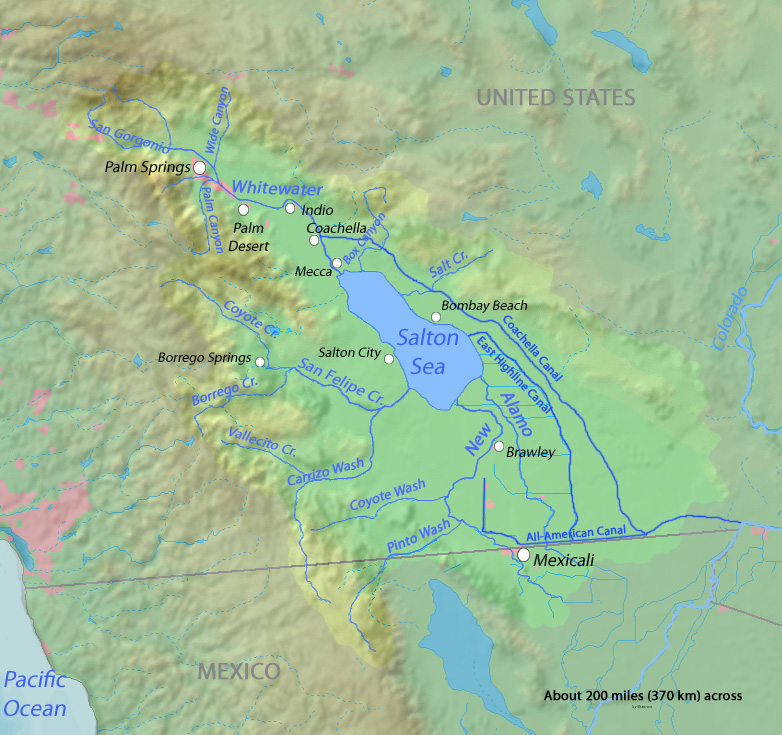 Map of the Salton Sea drainage area showing rivers draining into the basin, and nearby towns. Credit: Shannon1.