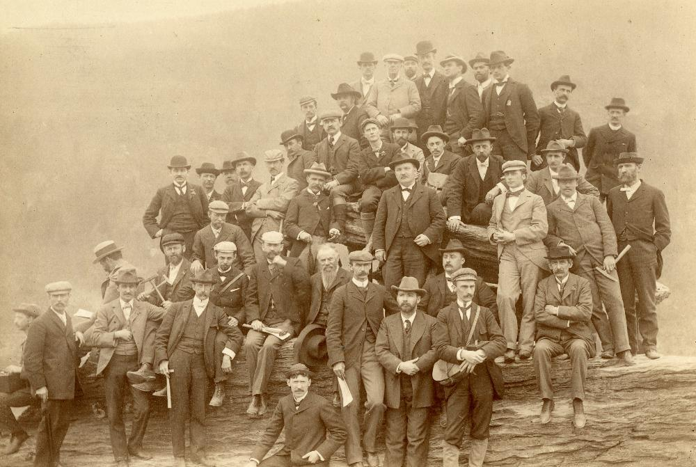 Geologists Bailey Willis and Robert T. Hill both attended a Johns Hopkins University field trip while they worked at the USGS. This photo, taken April 30, 1897 at Jefferson's Rock, Harper's Ferry in West Virginia, includes them both amongst their colleagues. Credit: Joseph S. Diller, USGS photo library.
