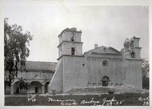 Damaged Mission Santa Barbara, after the June 29, 1925 earthquake. Credit: Public Domain.