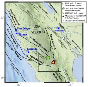 Map showing the location of the main faults (f) and fault systems (f.z.) in southern California, (USA) and northern Baja California (Mexico), and the epicenter of some of the earthquakes referred.