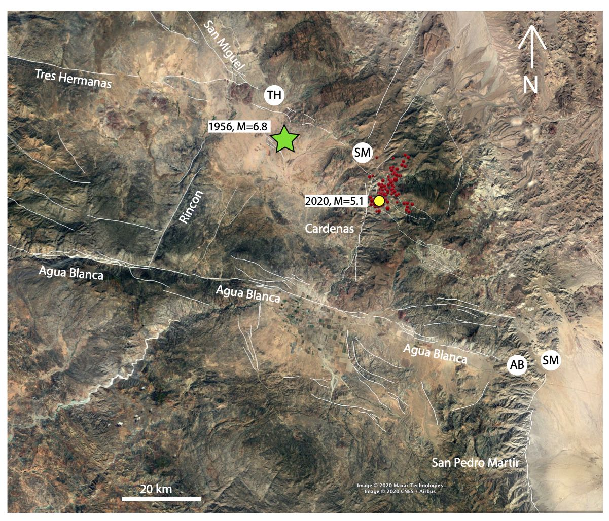 Map of the area inside the small square in Fig 1. White lines represent main faults, including the projection of the Tres Hermanas (TH), San Miguel-Vallecitos (SM) and Agua Blanca (AB) faults. Green star marks part of the rupture area of the 1956 (magnitude-6.8) earthquake. Circles represent the epicenters of the magnitude-5.1 August 17, 2020 earthquake (yellow), its foreshock and aftershocks (red).