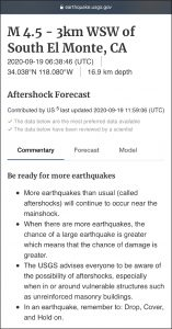 USGS aftershock forecast message