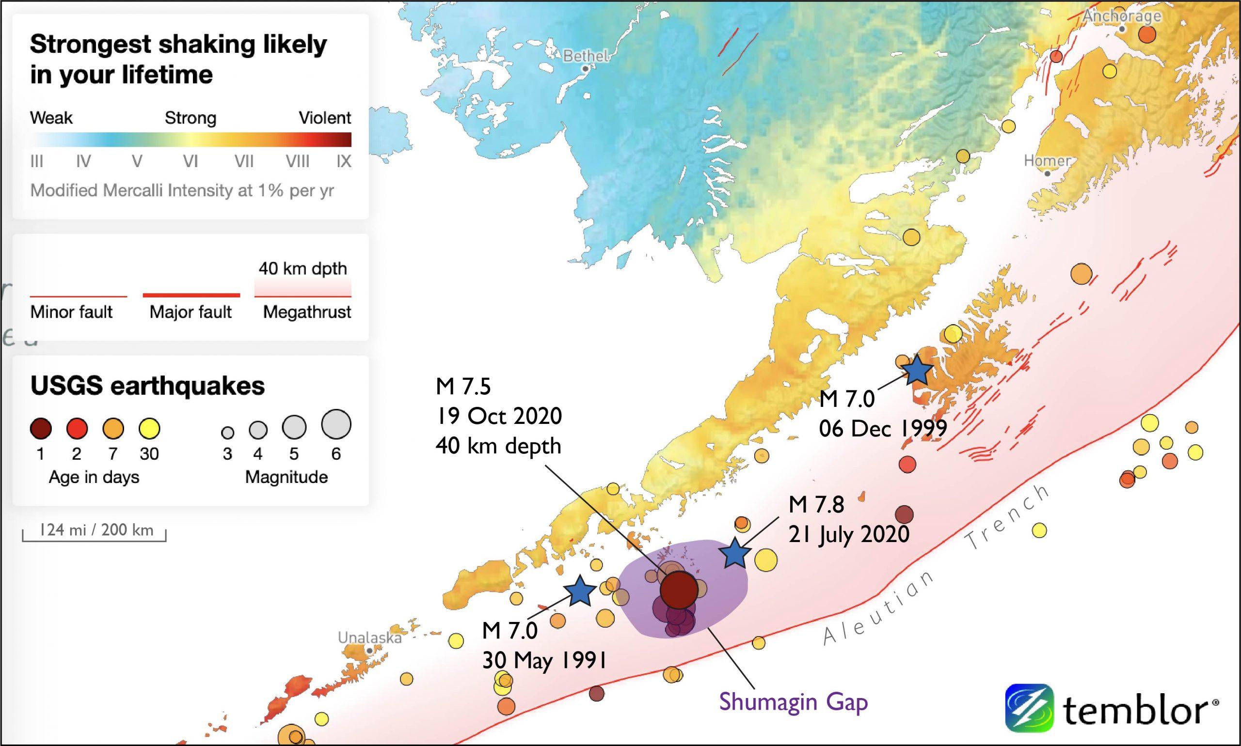 M7.8 earthquake location map