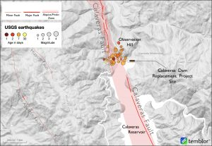 Map of Calaveras Fault and 2020 swarm
