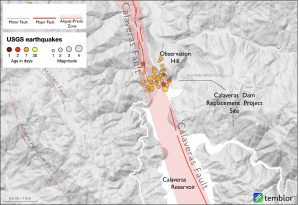 Map of Calaveras Fault and 2020 swarm