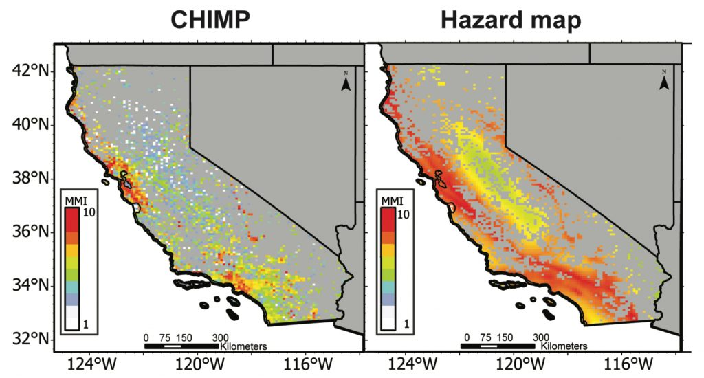 Comparison of CA USGS and CHIMP seismic hazard map