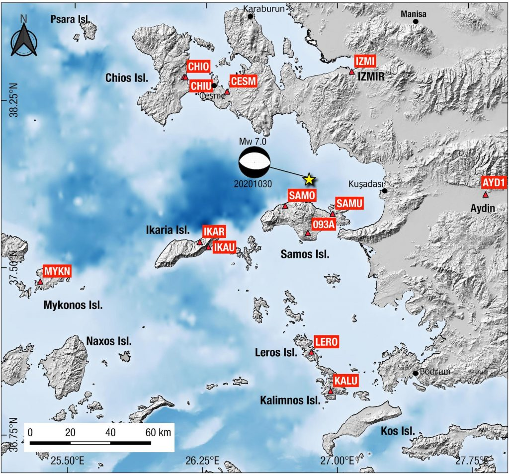 Location map showing shaded topography/bathymetry, the focal mechanism (beachball; GCMT solution) and the epicenter of the Samos October 30, 2019 earthquake. Triangles indicate permanent GPS (GNSS) station locations.