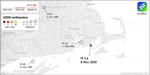 Map of Northeastern U.S. with location of M3.6 earthquake and three others in the past century.