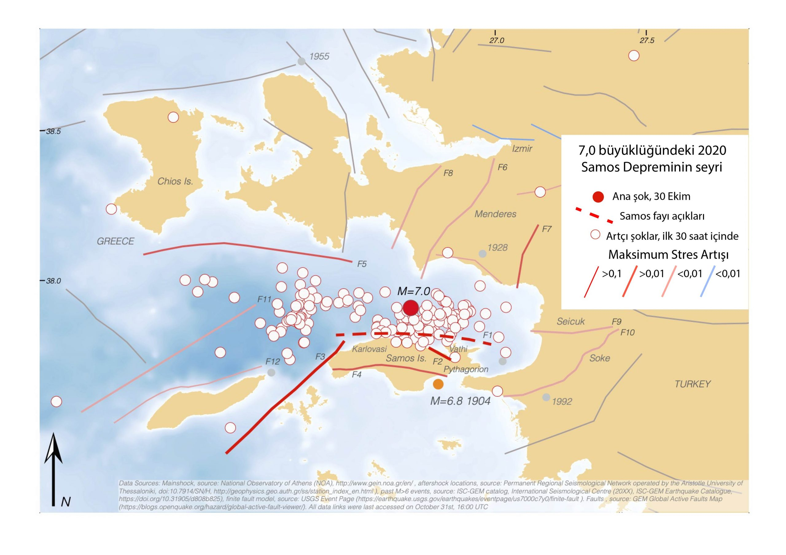7,0 büyüklüğündeki Samos depreminden sonraki ilk 30 saat içinde gerçekleşen artçı şoklar. Önceki 6,0 ve daha büyük depremler gri halkalar halinde gösterilmiştir. Faylar, fay boyunca gözlenen maksimum stres değişimine göre değişen renklerle gösterilmiştir. Cuma günkü depremle kırılma ihtimali artan faylar kırmızı renkle, kırılma ihtimali azalanlar ise mavi renkle gösterilmiştir.