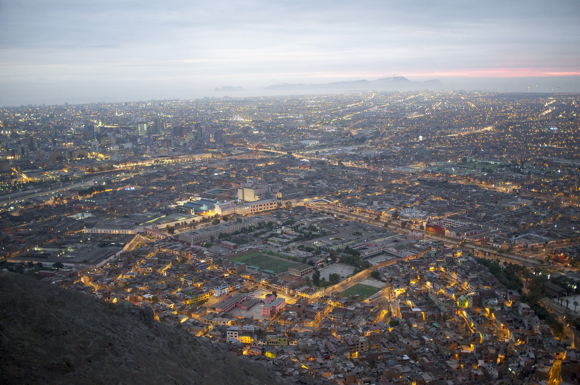 Aerial view of city at dusk