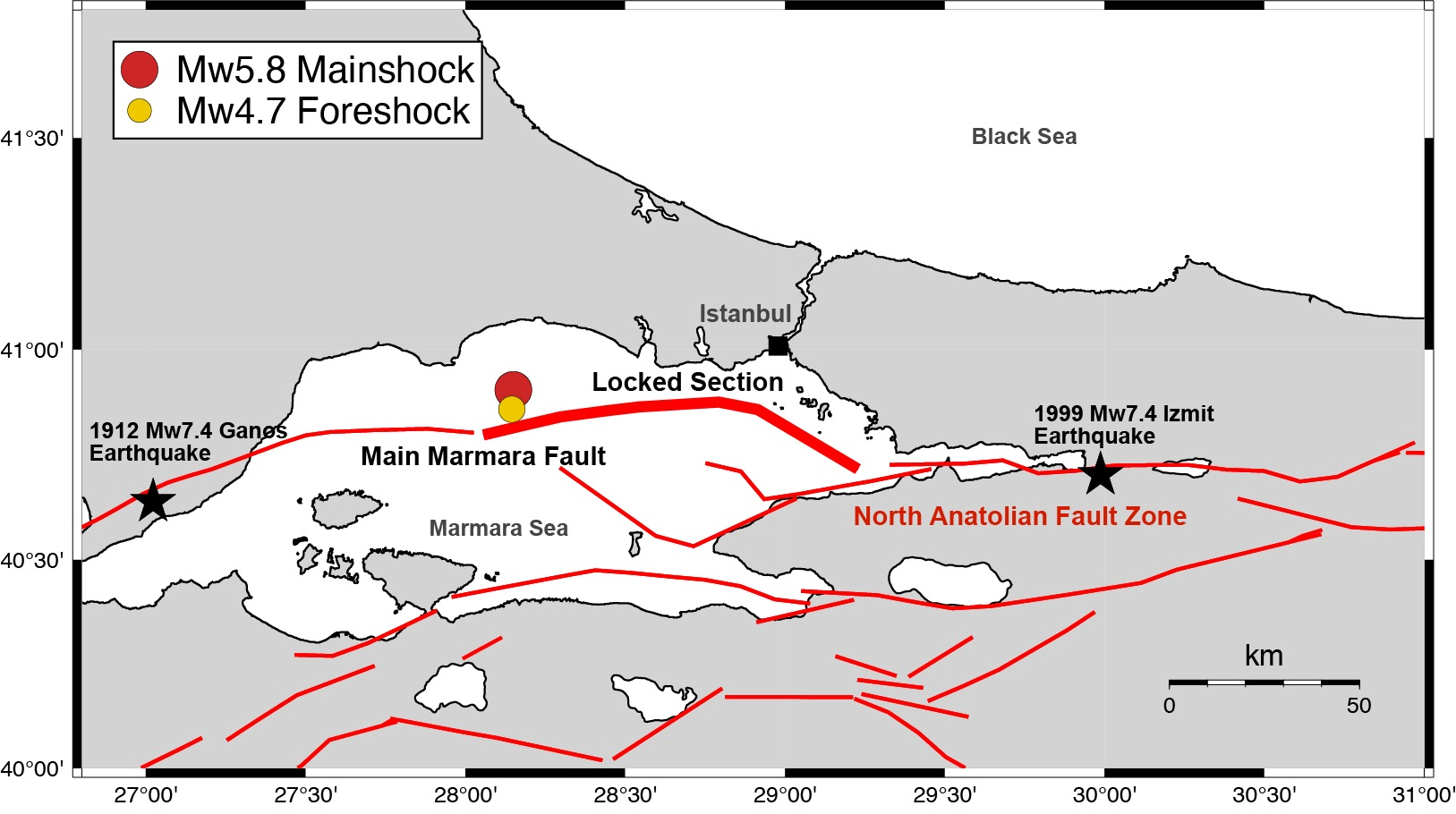Map of faults in Marmara Sea and location of Sept. 2019 earthquakes