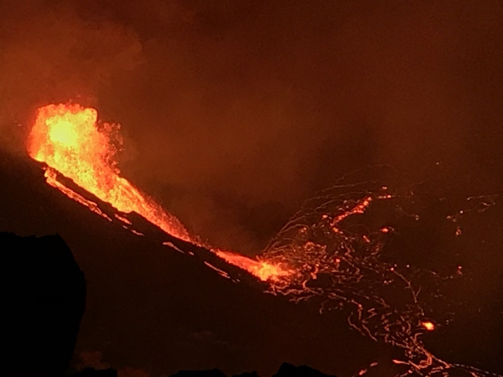 On Dec. 20 at 9:30 p.m. local time, lava started flowing out of the walls of the Halema'uma'u crater at Kīlauea's summit for the first time in more than two years. This photo was taken just before 5 a.m. on Dec 21. The main lava fountain height is about 18 meters (59 feet). Credit: USGS