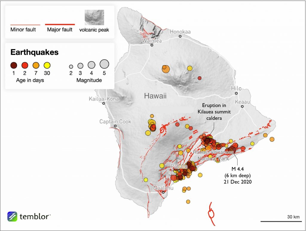 Hundreds of earthquakes struck the Big Island in just the last month, indicating that magma was moving at depth — a potential sign of an impending eruption. Credit: Temblor