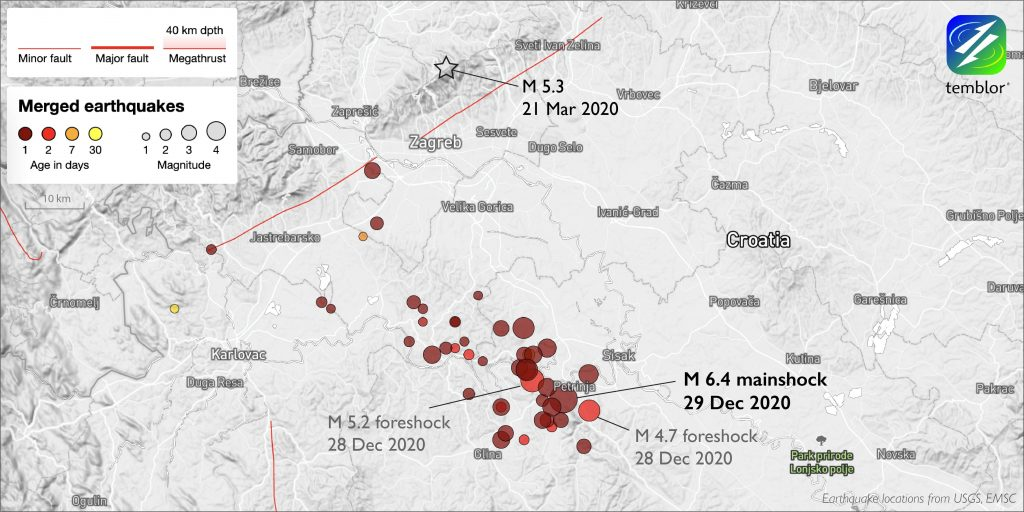 Map of Central Croatia with red circles indicating recent earthquakes. A black star indicates the location of the magnitude-5.3 earthquake just north of Zagreb
