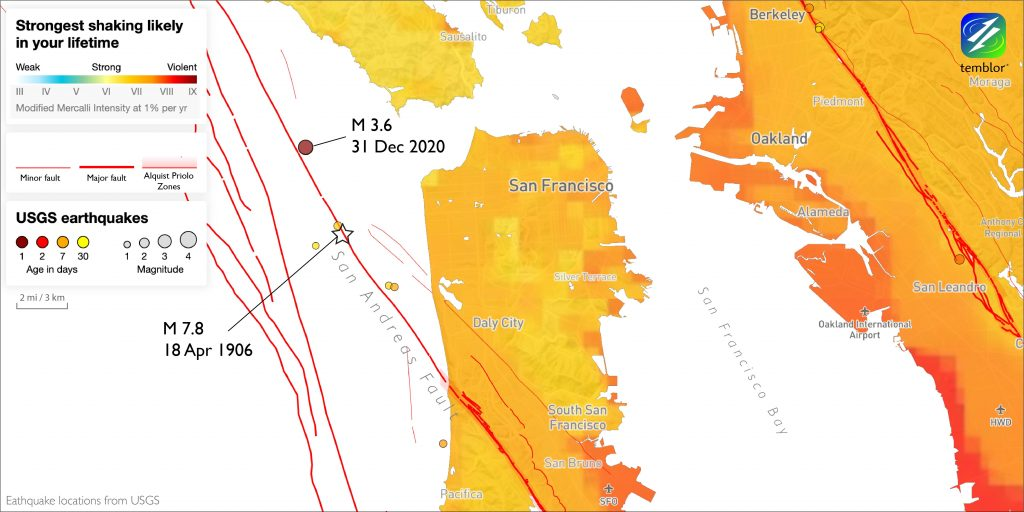 Map of San Francisco Bay area with circles indicating the location of recent earthquakes and a star showing the location of the 1906 earthquake