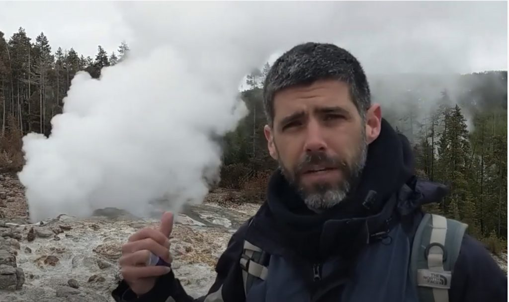 Volcanologist Michael Poland, shown here at Yellowstone in 2019, spoke with Temblor Earthquake News about what Kīlauea's latest rumblings mean for the volcano. Credit: USGS
